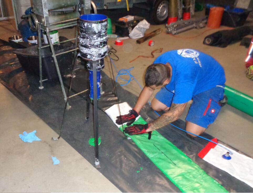 Sanierung von Schmutzwasser Rohrleitung mittels Inliner Brawoliner System.