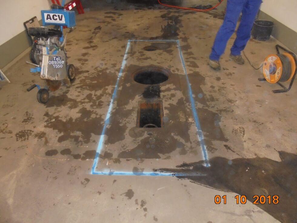 Markierung für das Schneiden der Oberfläche als Vorbereitung für die Abscheiderstilllegung.